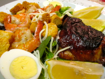 Teriyaki Chicken Thighs and Garlic Butter Shrimp