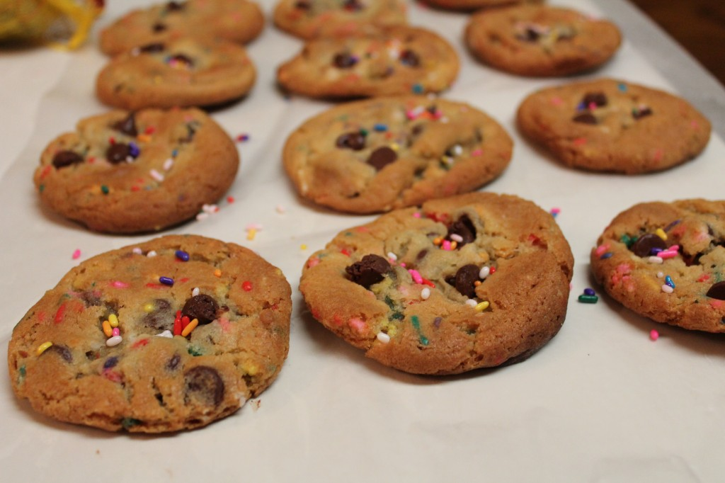 Gooey chocolate chips and colorful sprinkles make these cookie perfect for a party