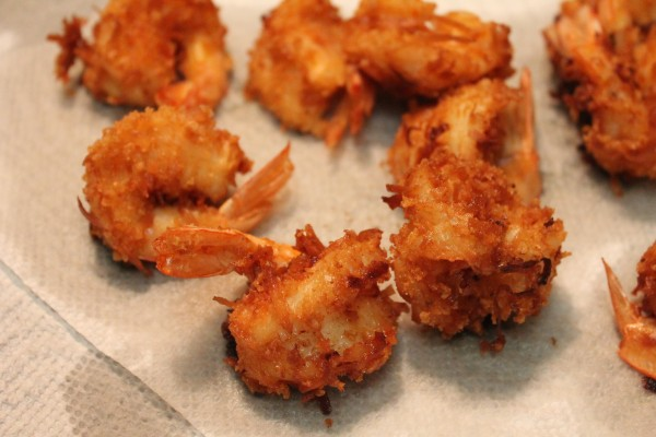 Crispy, perfectly-fried shrimp coated in sweetened coconut flakes.