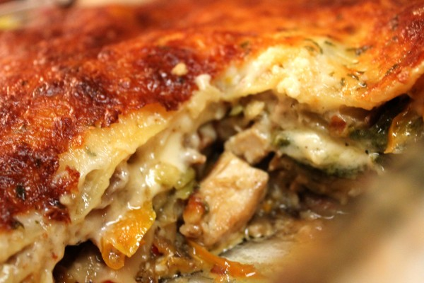 This chicken lasagna is packed full of flavorful vegetables!