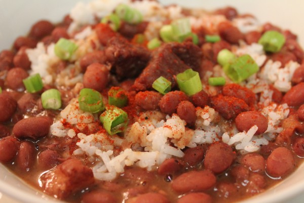 Southern red beans and rice is the perfect side to fried chicken!