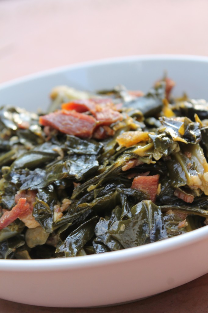 True southern tender collard greens flavored with smokey bacon.