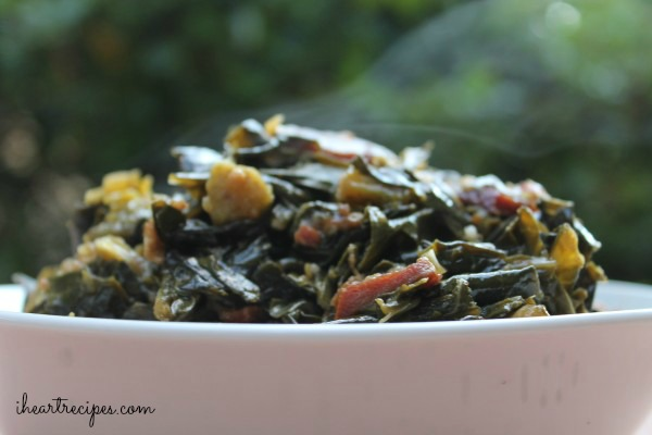 You can use bacon, ham, sausage or any flavorful meat to add a delicious, savory flavor to these soul food collard greens.