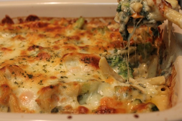 Meatless baked ziti with a creamy cheese sauce