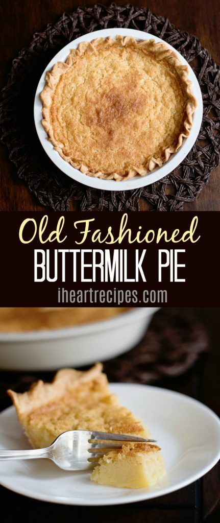 Old fashioned buttermilk pie recipe from IHeartRecipes.com