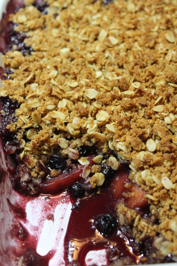 This blueberry and peach cobbler is topped with a crispy, buttery crumble and baked to perfection