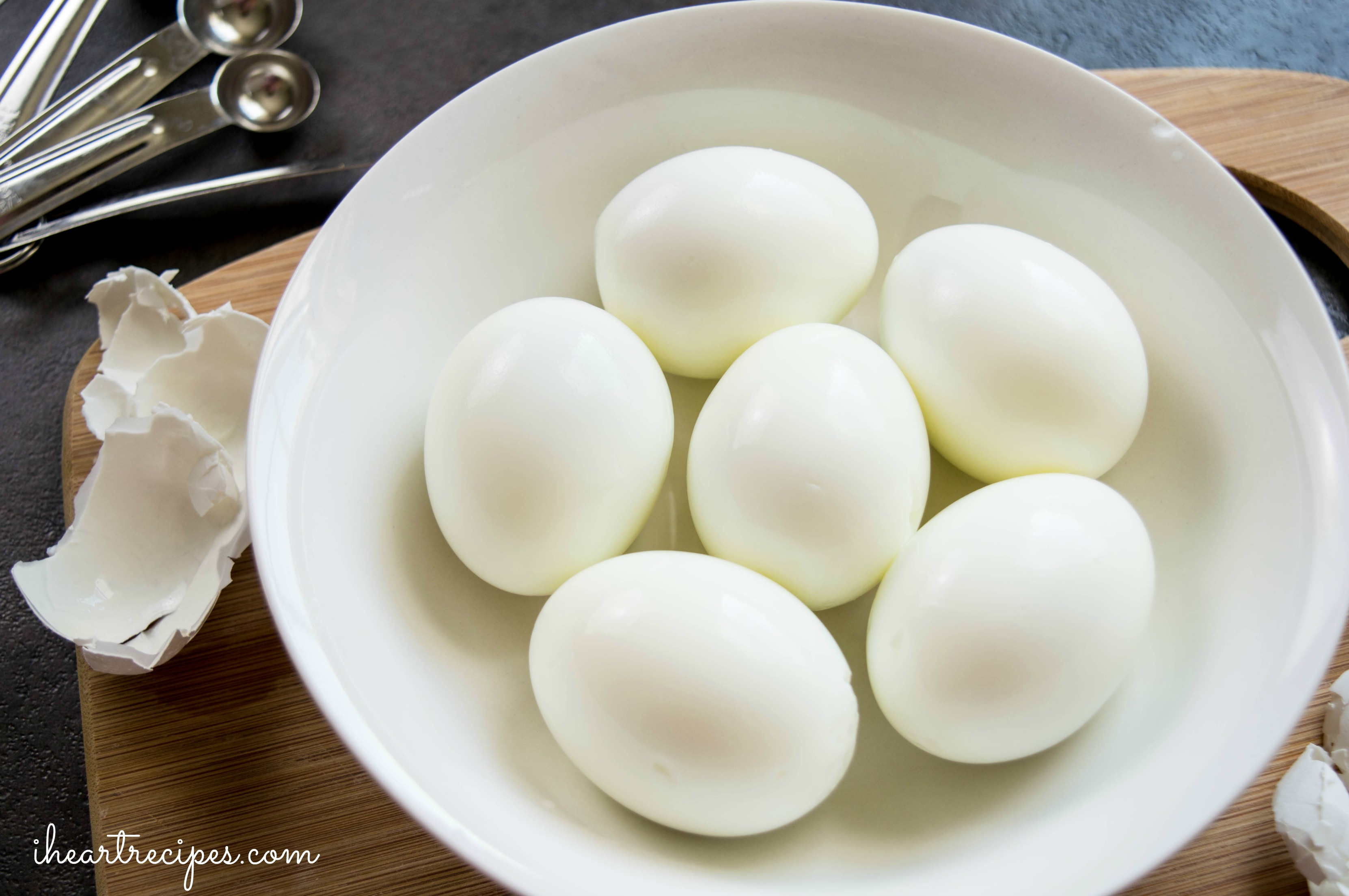 Start with hard boiled eggs for these simple deviled eggs