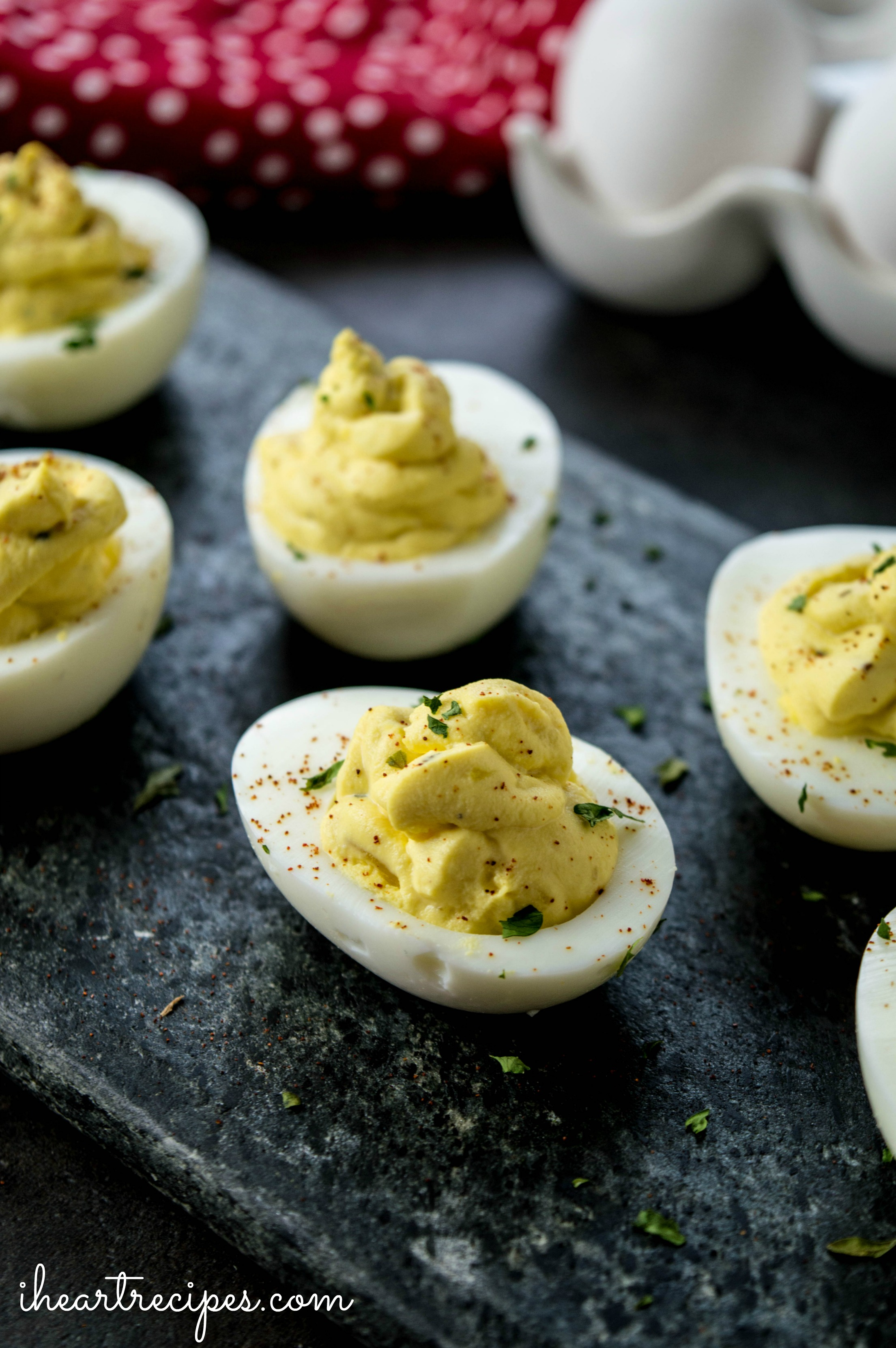 Look at these perfectly filled egg cups! These deviled eggs will be gone quick at your next party.