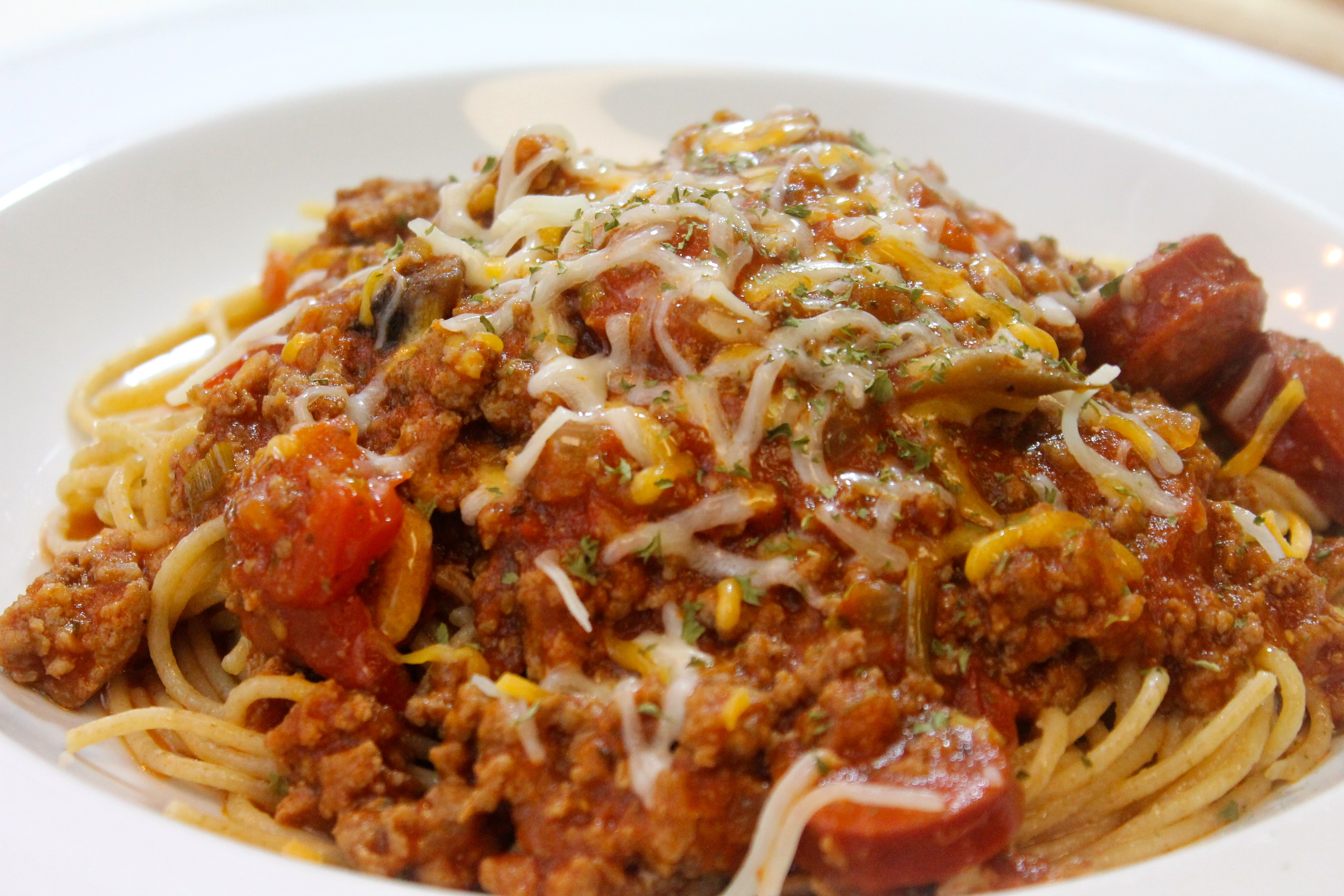 Spaghetti with hot links, sweet Italian sausage beef, and more!