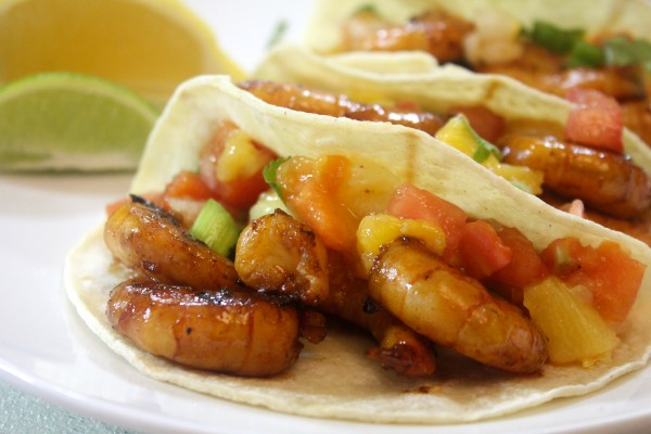 Thee grilled shrimp tacos are sweet and spicy and take taco night to a whole new level