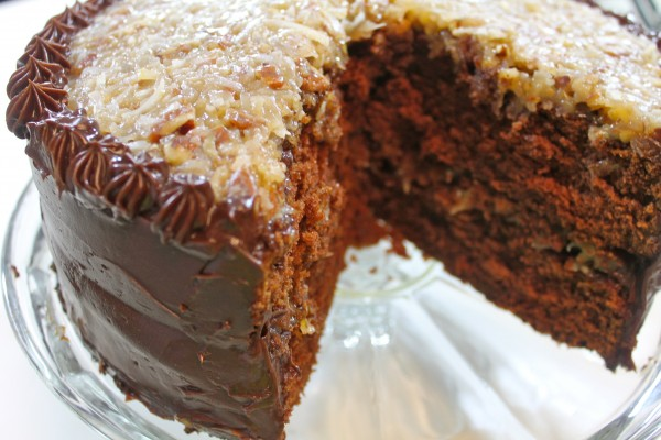 This triple layer chocolate cake filled with dark chocolate frosting and topped with a creamy German chocolate frosting.