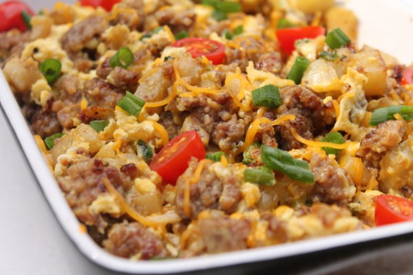 Easy and delicious egg, sausage, and potato scramble