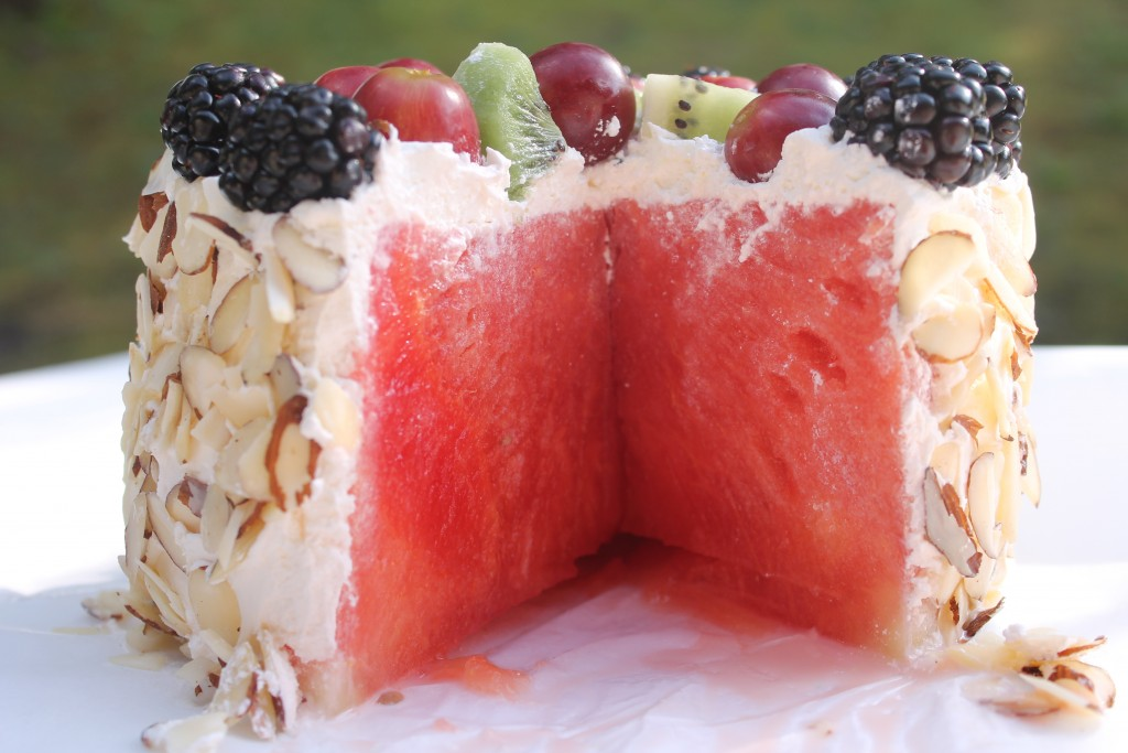 fresh watermelon cake is exactly what it sounds like. It's a cake ...