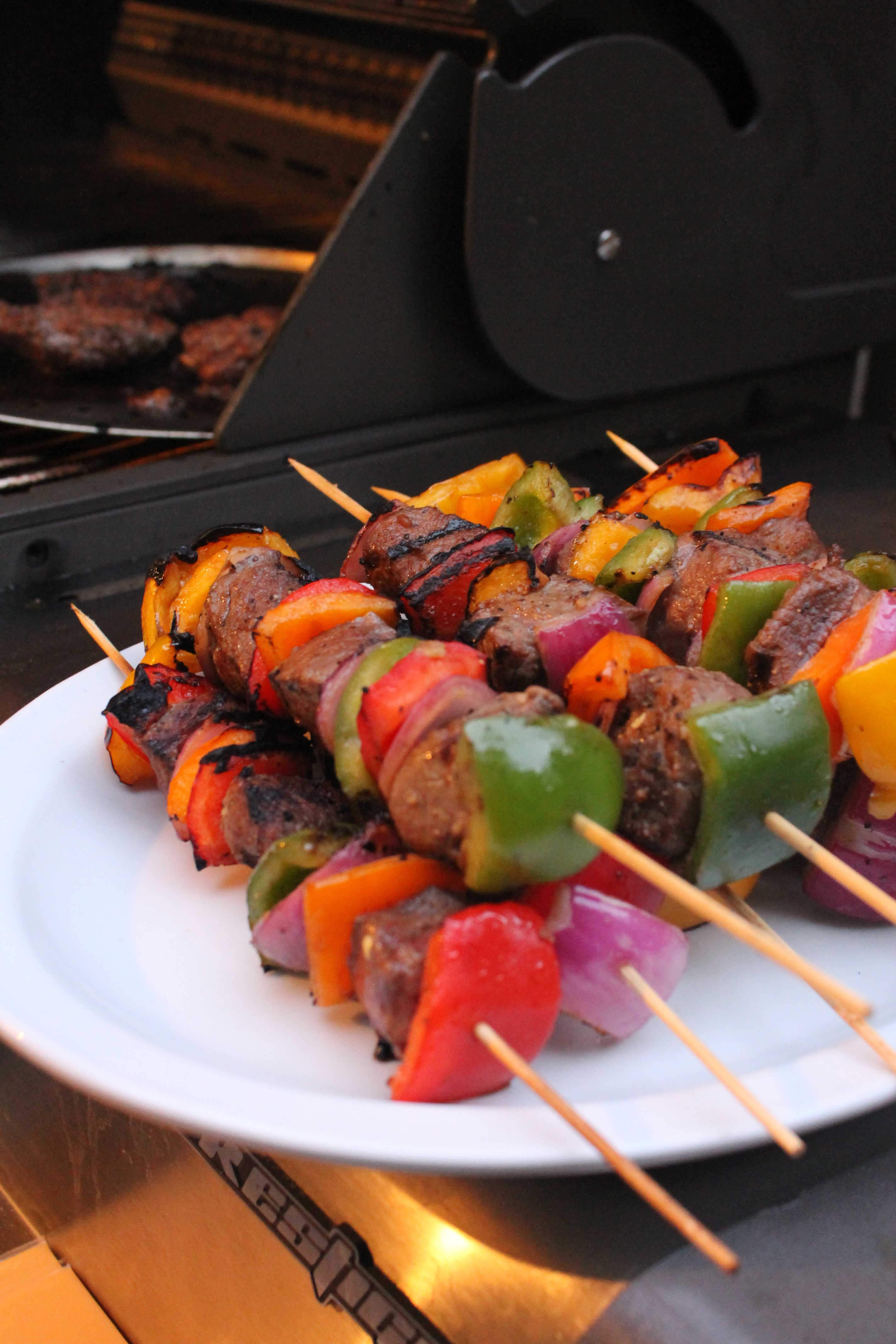 Grilled Sirloin Steak Onions And Sweet Pepper Kabobs