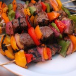 Grilled Sirloin Steak , Onions, and Sweet Pepper Kabobs Recipe