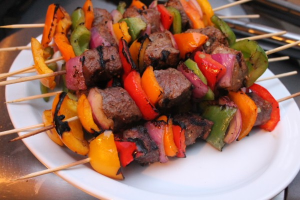 Grilled sirloin steak, onion and sweet pepper kabobs are the perfect summer meal!