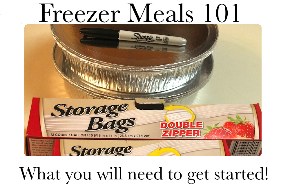 Freezer meal prep starts with a large supply of plastic storage bags, containers, and a permanent marker