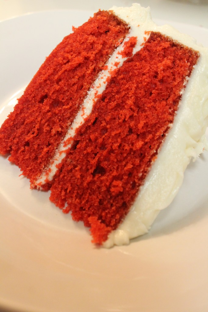 This light and fluffy red velvet cake is the easiest red velvet cake recipe with homemade cream cheese frosting