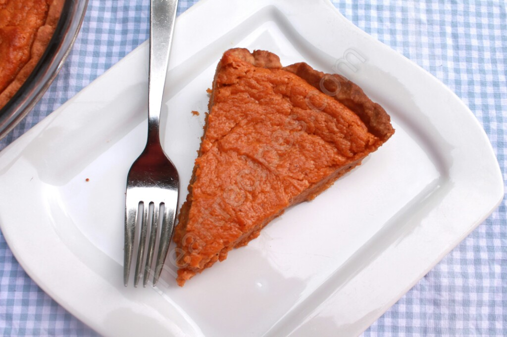 Close of up the creamy texture of this sweet potato pie.