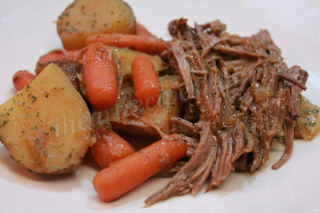 This pot roast recipe is so delicious and easy to toss together with a few vegetables and gravy.