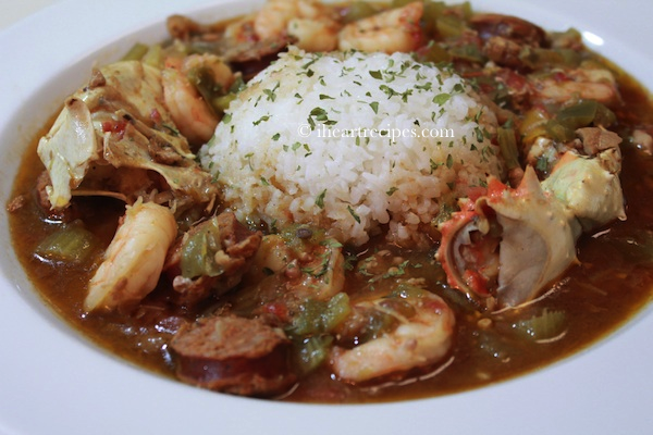 Seafood, chicken and andouille sausage gumbo served with white rice