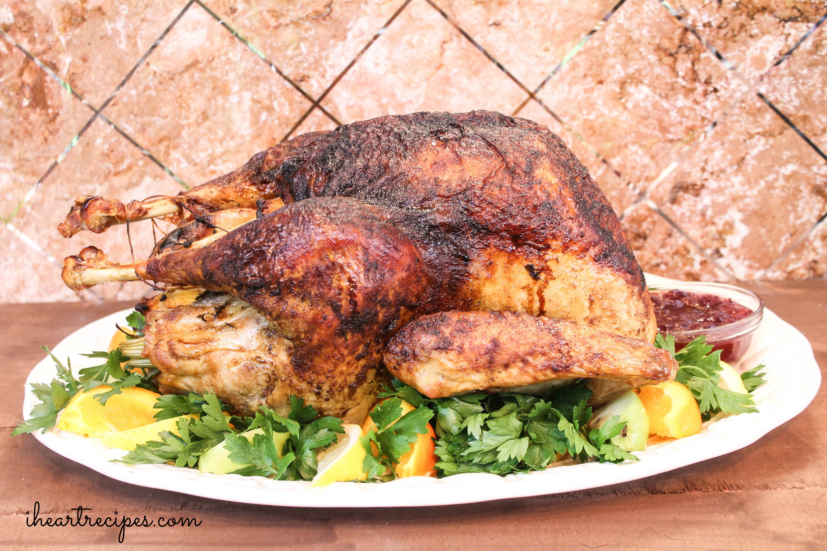This juicy whole roasted turkey is perfect for Thanksgiving dinner.