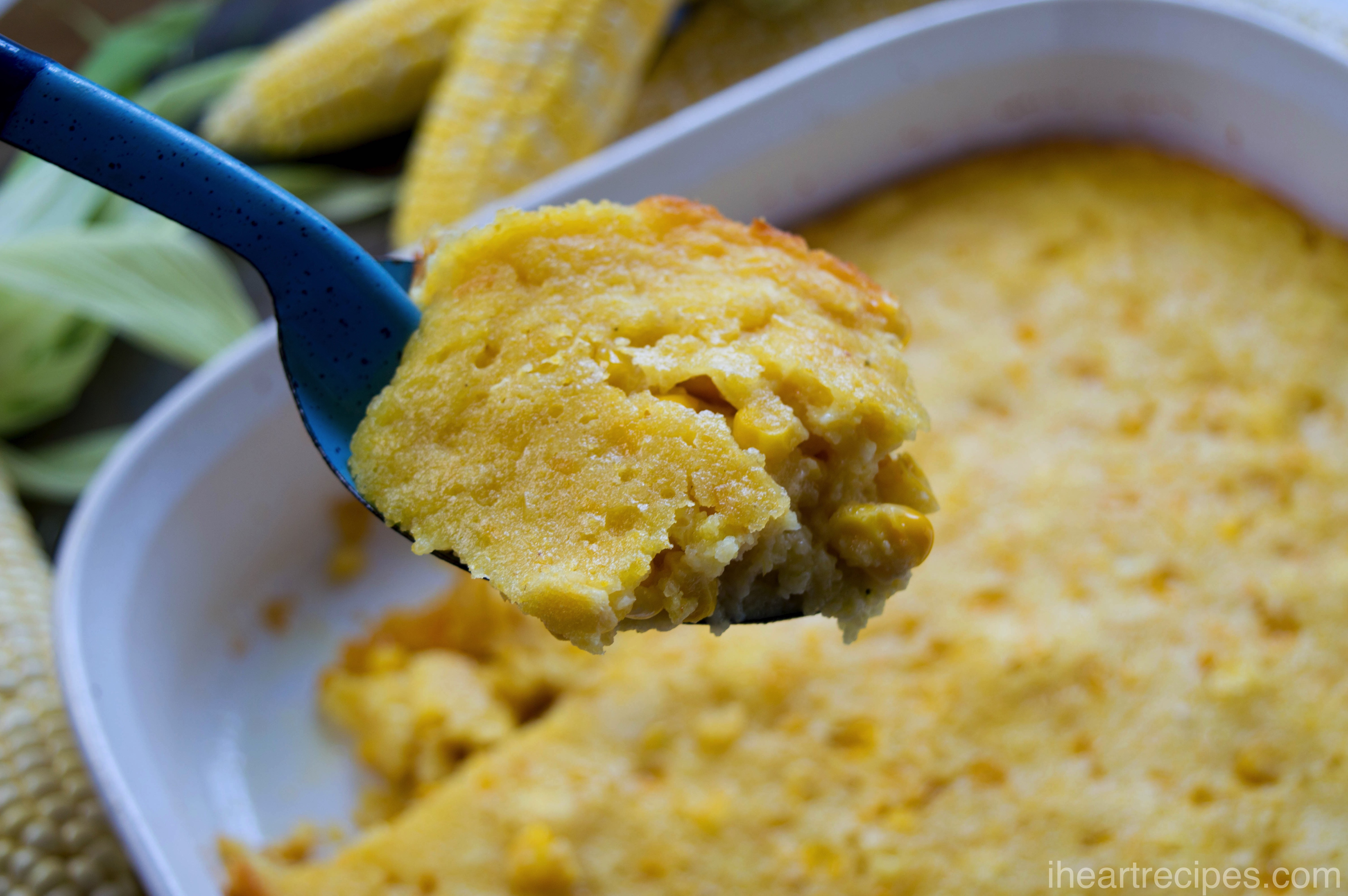 This corn pudding casserole is super creamy and silky in texture.