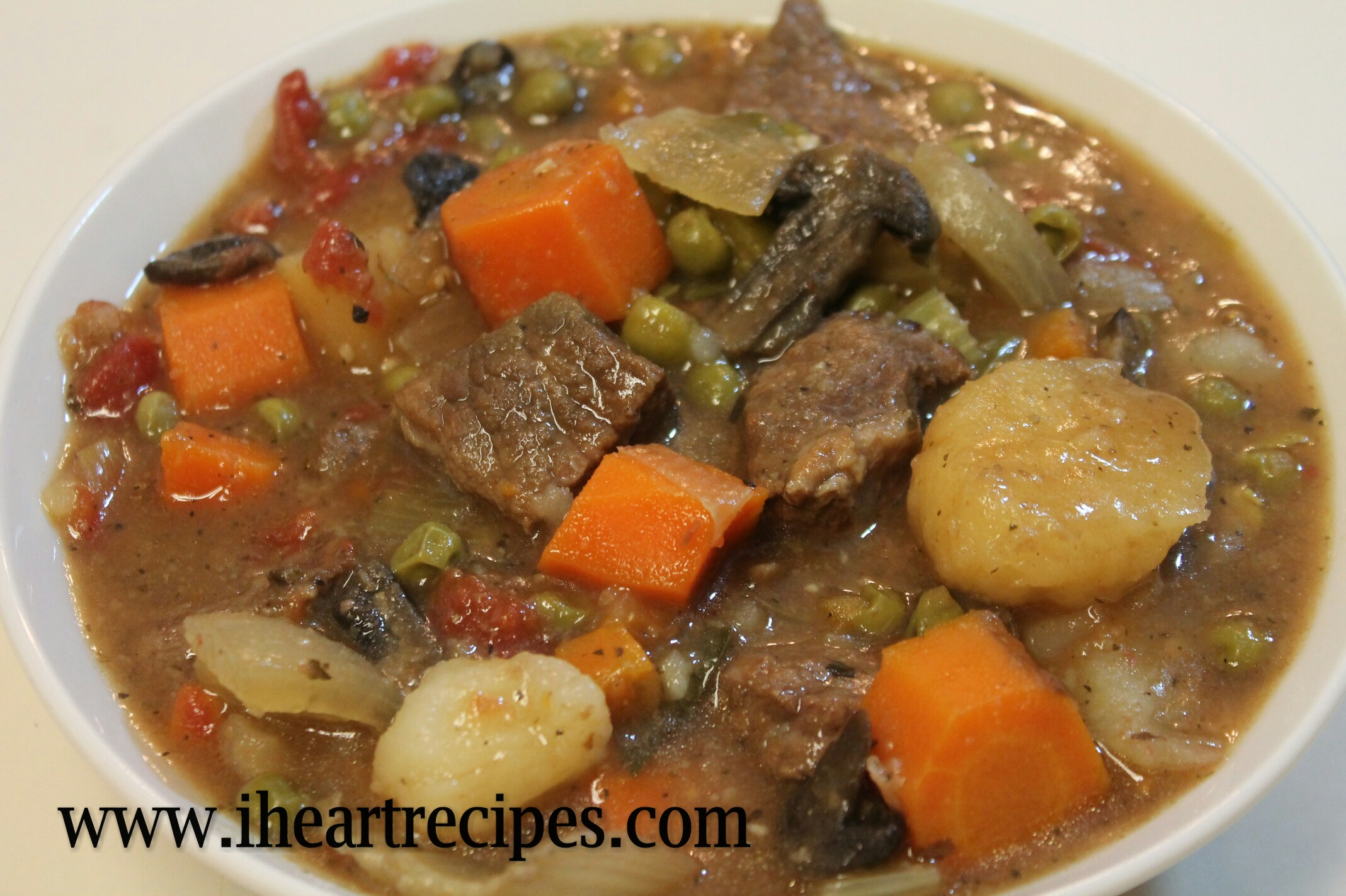 A bowlful of hearty crock pot beef stew