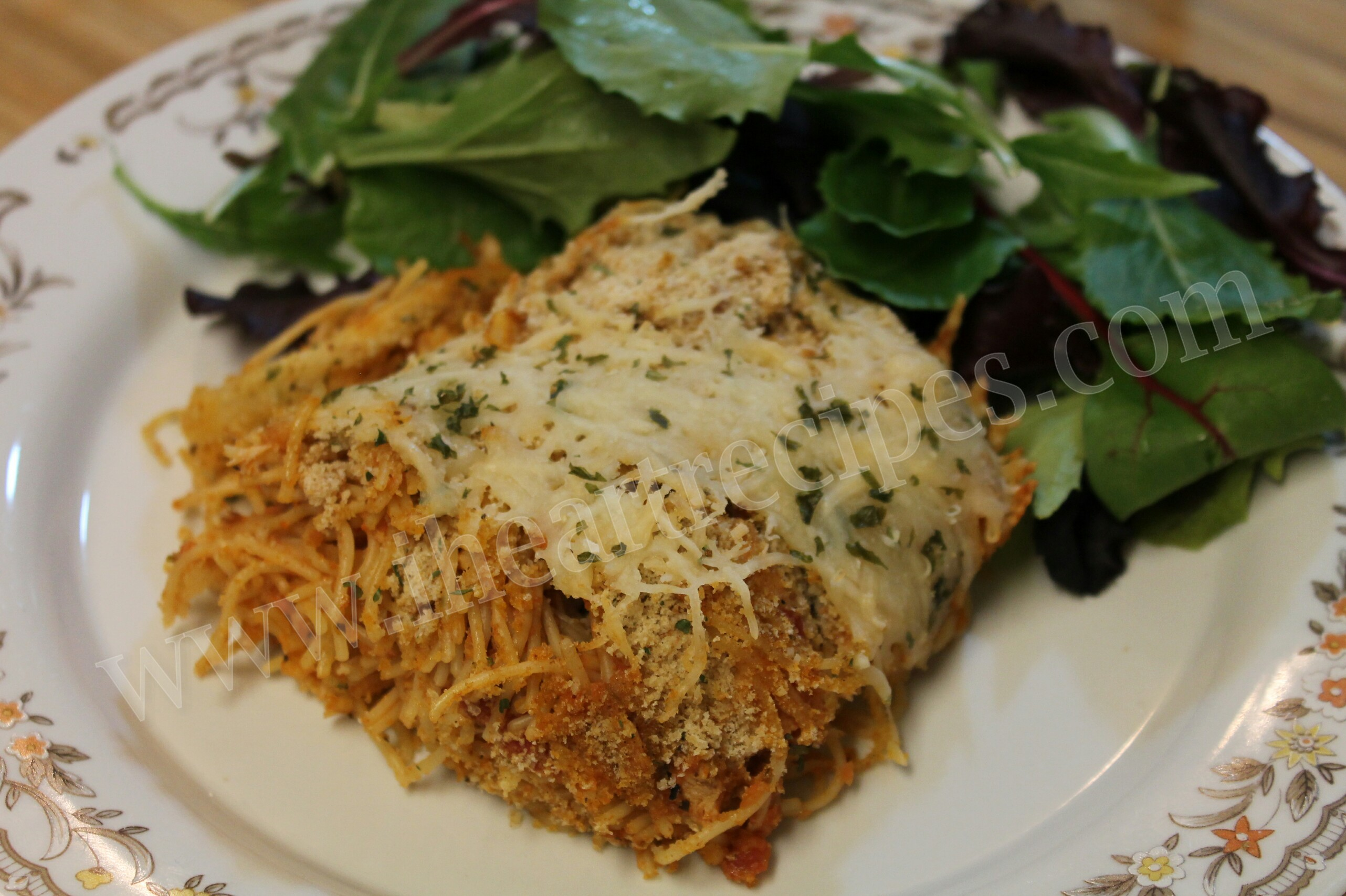 This cheesy and hearty chicken parmesan casserole dish can be served with a side salad or dinner rolls