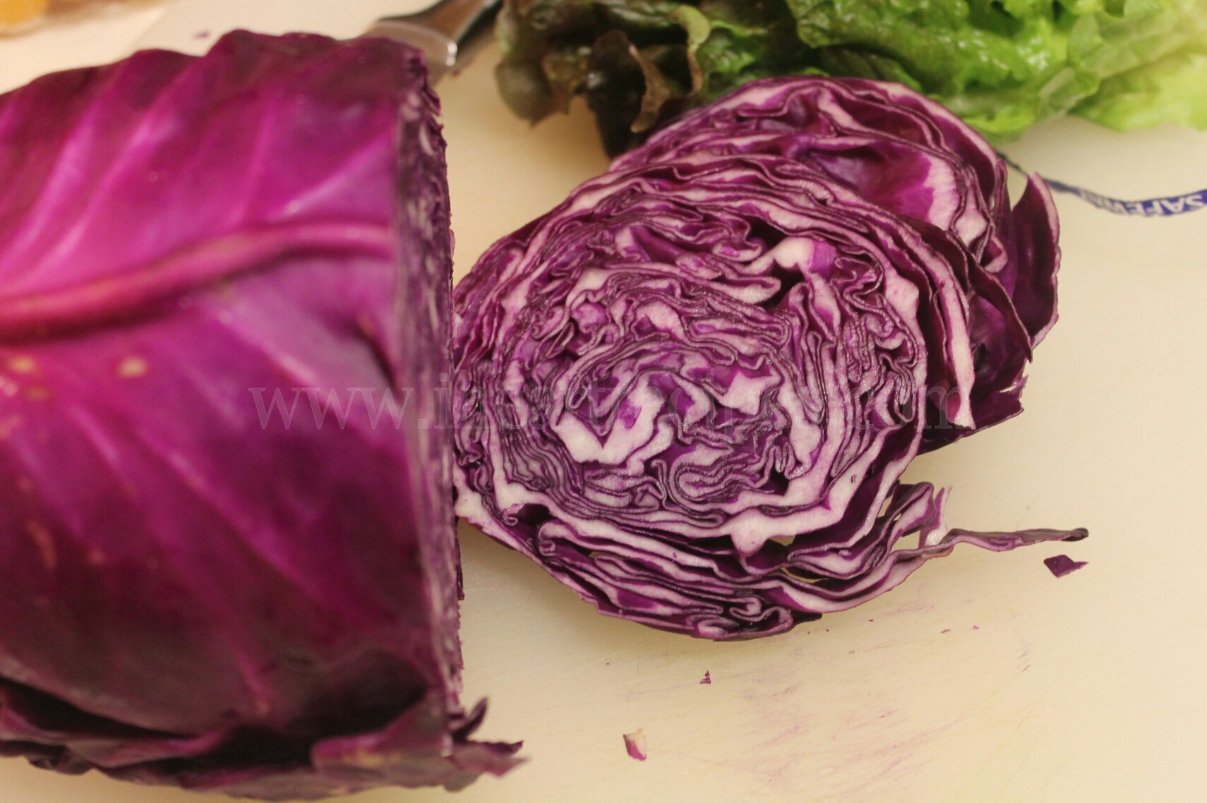 Sliced red cabbage gives this light yet satisfying salad a nice crunch
