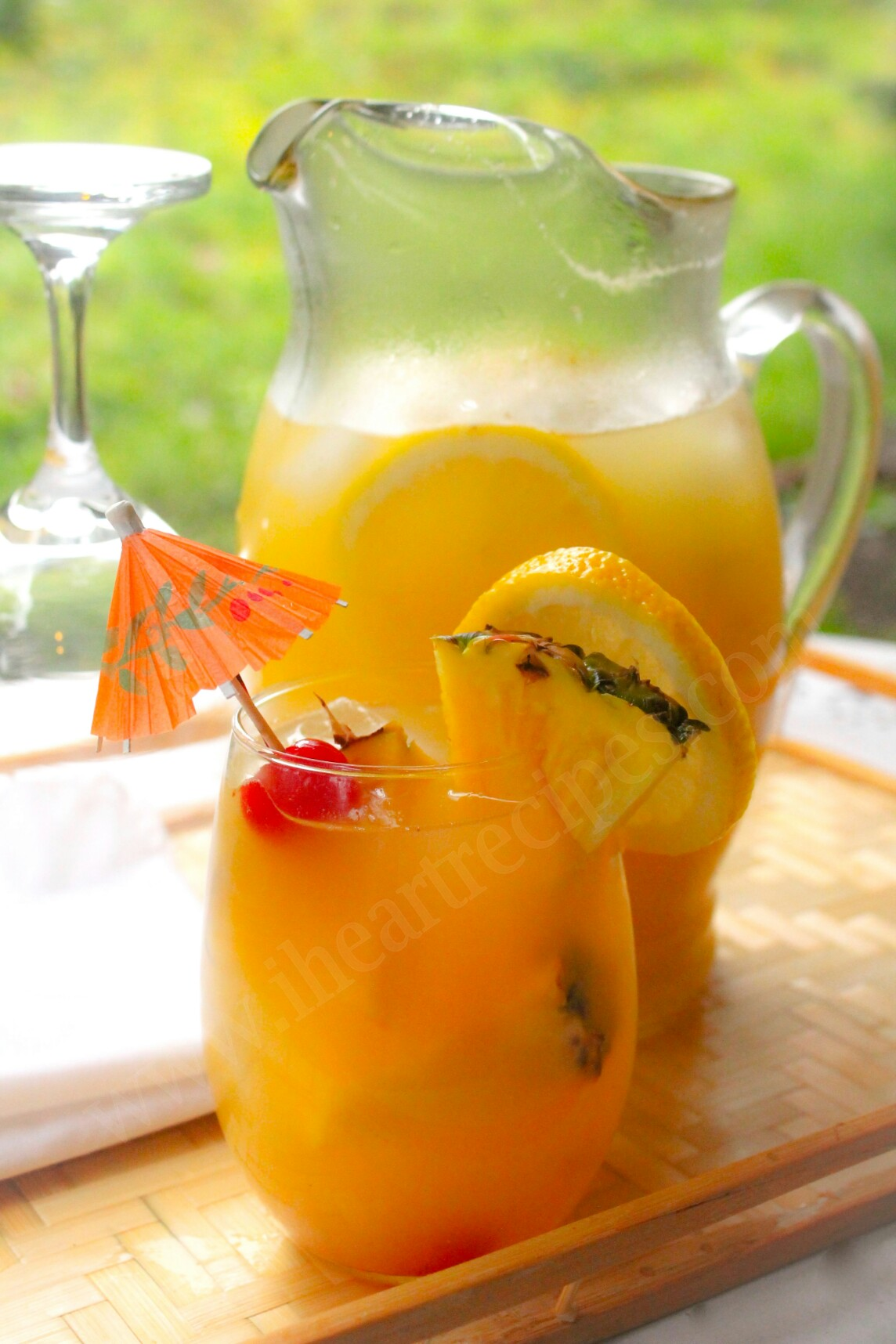 Serve this Fresh Homemade Mango Pineapple Lemonade at your next summertime party.