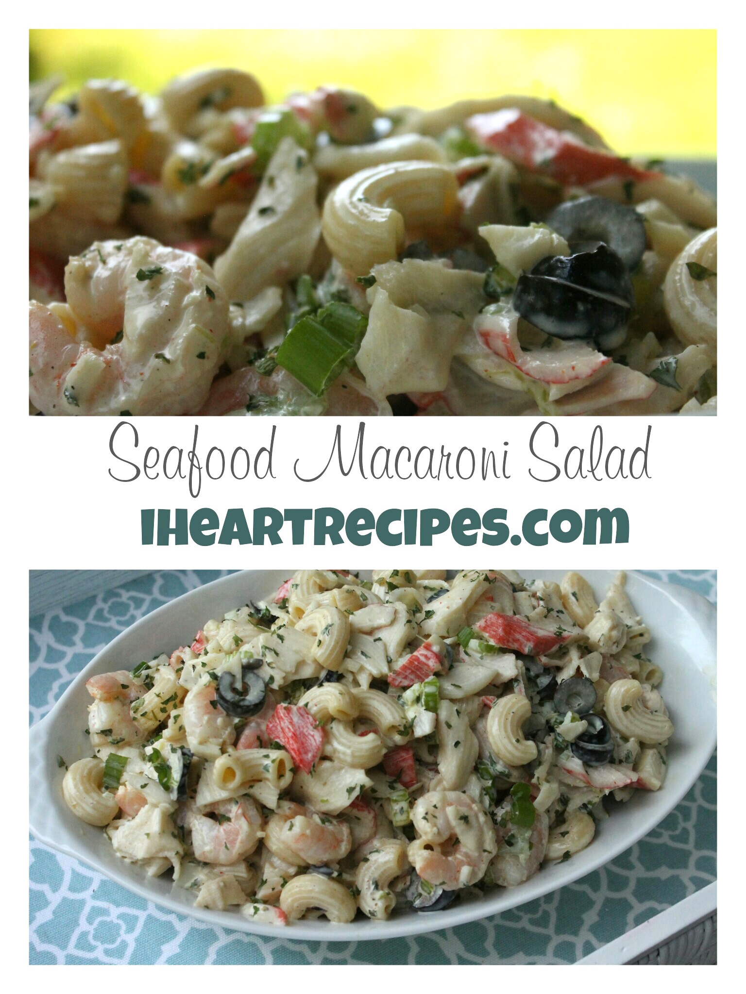 This seafood macaroni salad is creamy and hearty, best served cold!