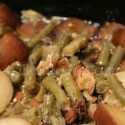 green beans, bacon, potatoes