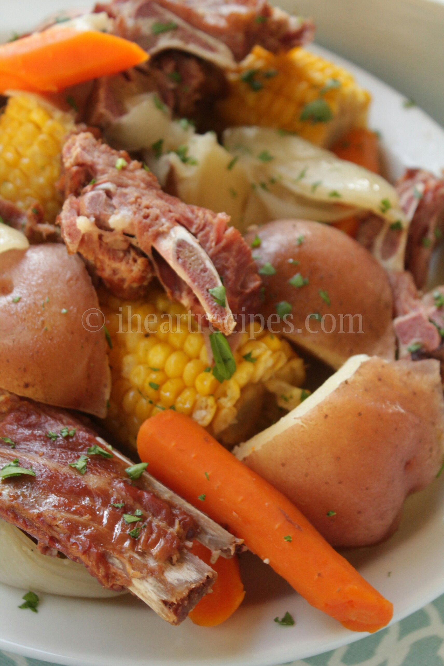 Slow cooker pork neck and veggies