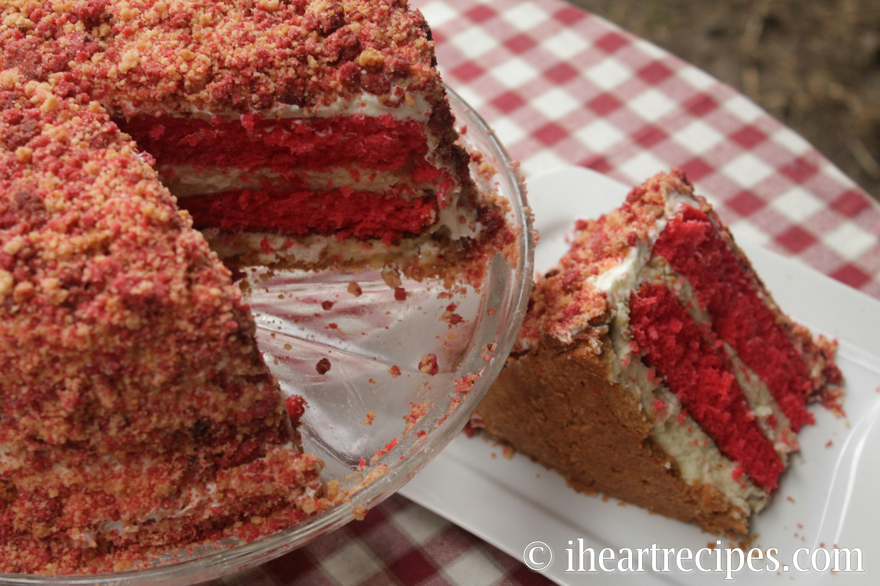 Here's a heart slice of the strawberry shortcake cheesecake