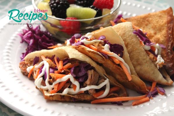 Chicken wonton tacos made with tender shredded chicken, crispy wonton ...