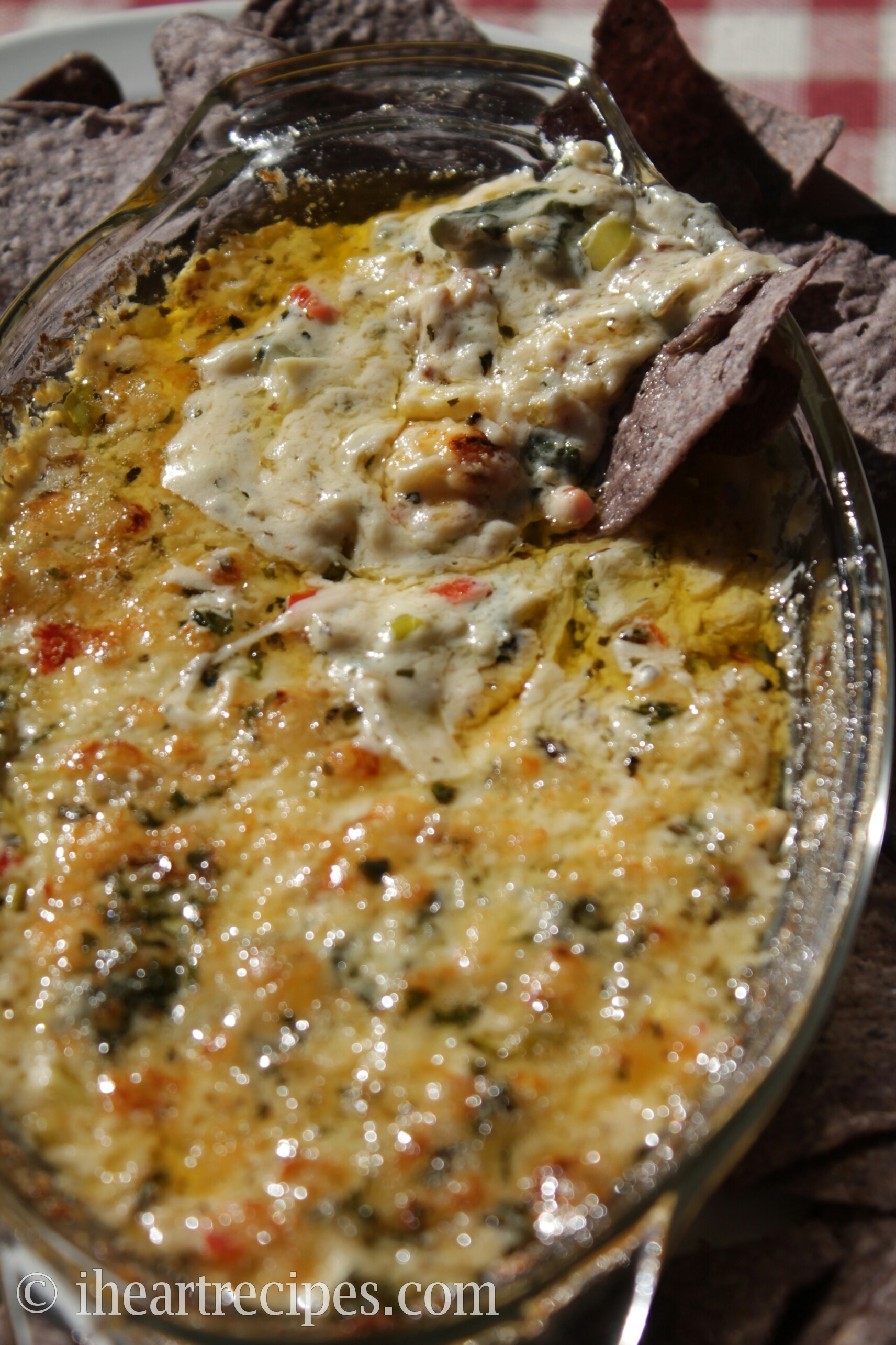 This Bacon, Rainbow Chard and Artichoke Dip is creamy, cheesy and smoky.