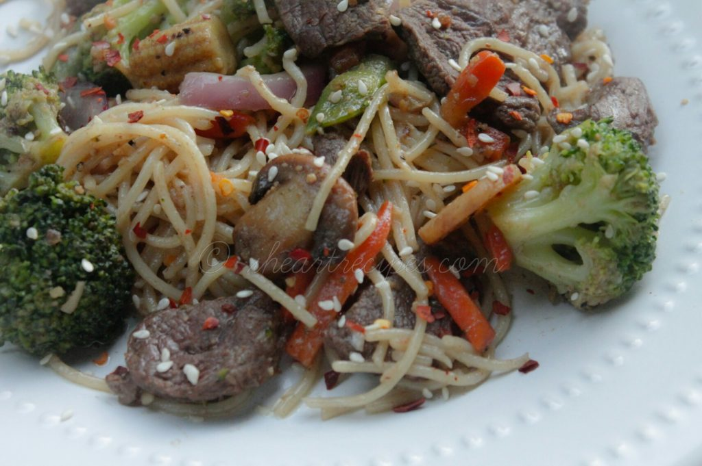 Beef & Vegetable Spaghetti Stir Fry