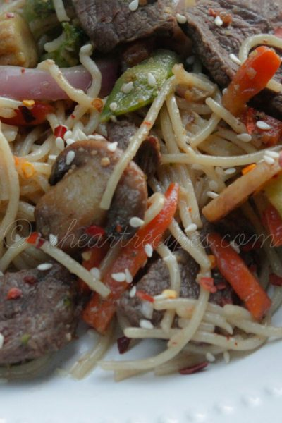 Beef Amp Vegetable Spaghetti Stir Fry I Heart Recipes