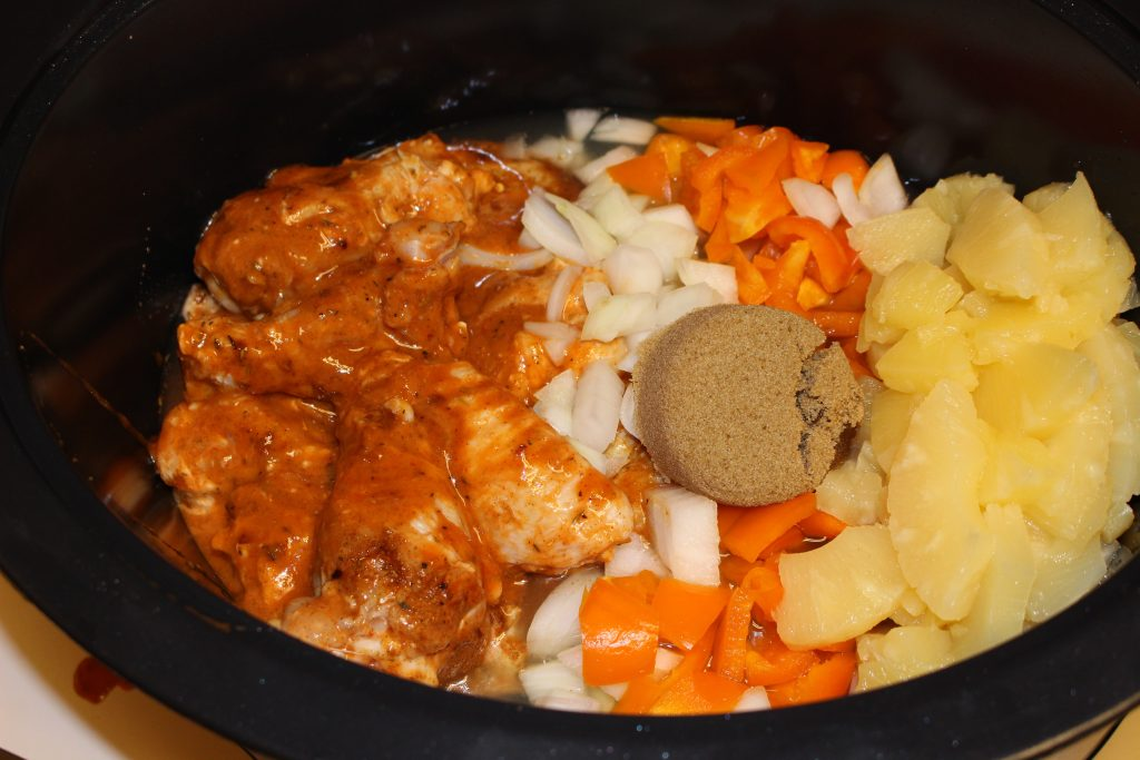 Simply load all the ingredients in a slow cooker with the wings and set to cook!