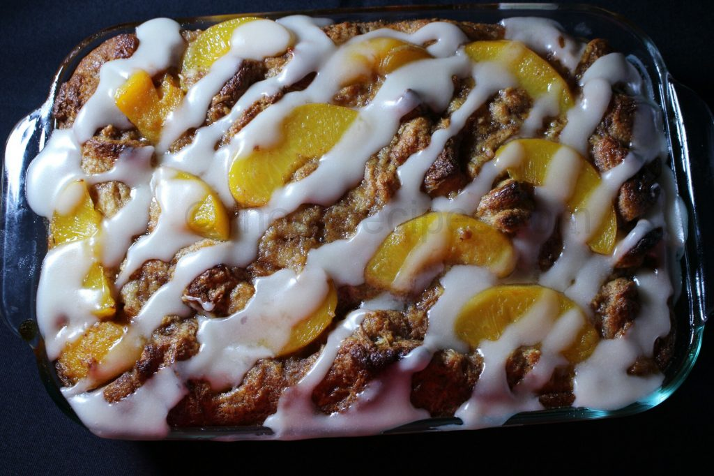 Peach Cobbler Bread Pudding combines two of the things the South is known for.
