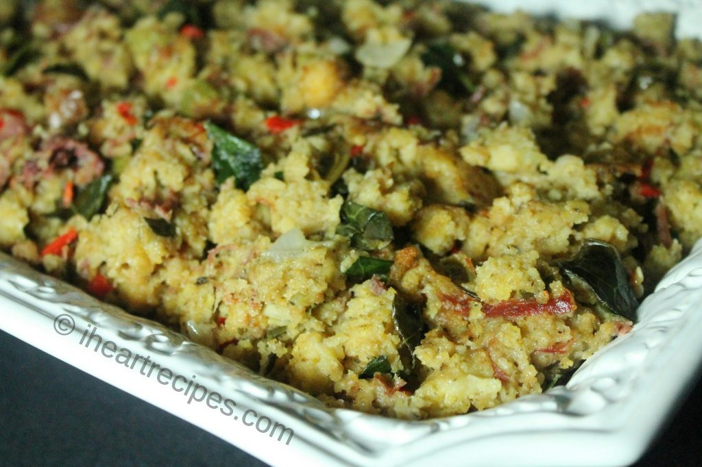 Yummy cornbread dressing with turkey and collard greens