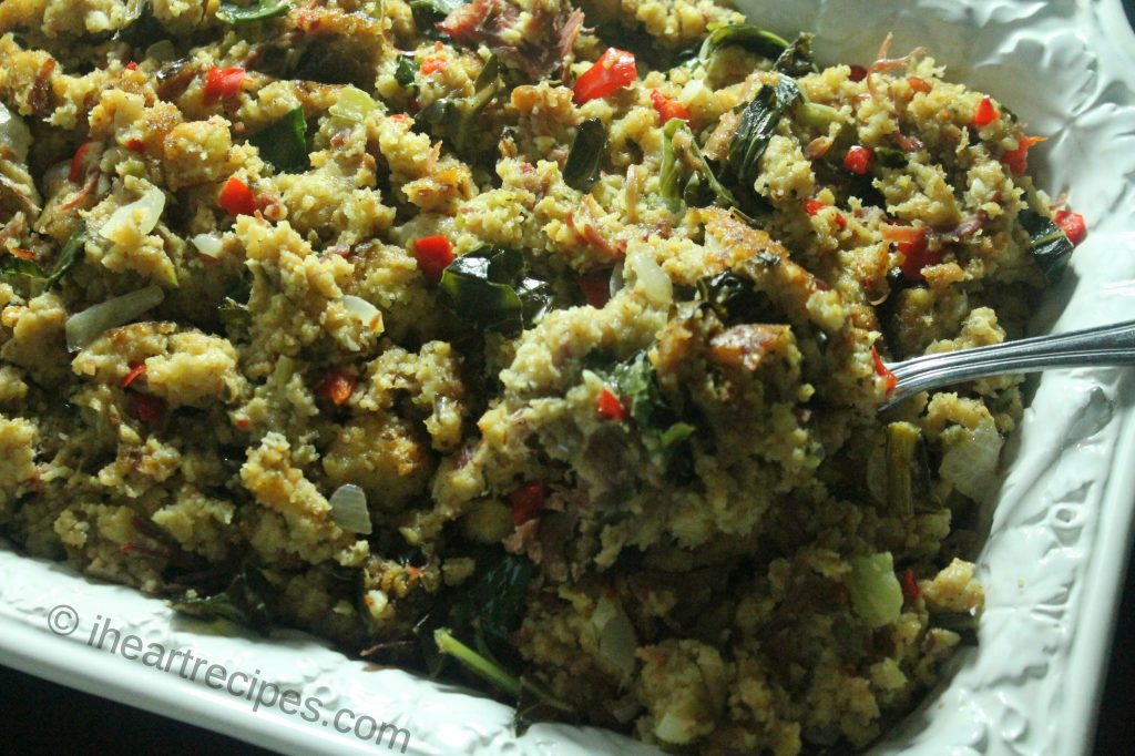 Collard Green & Smoked Turkey Cornbread Dressing | I Heart Recipes