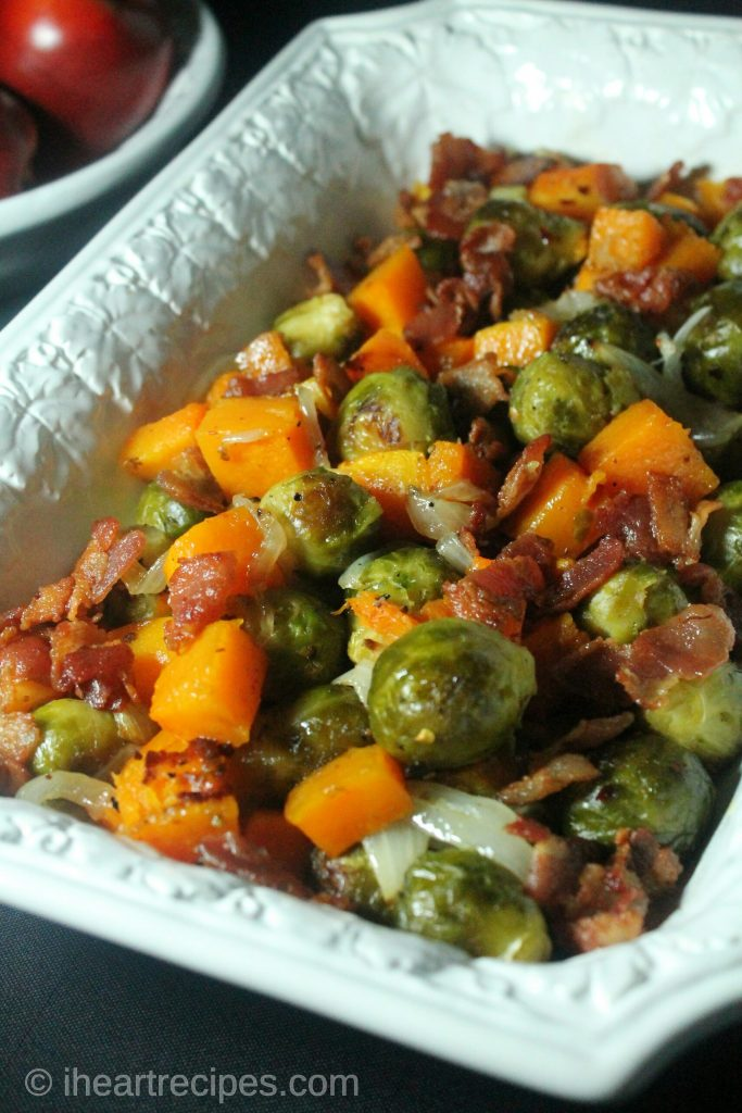 Delicious roasted vegetables with bacon