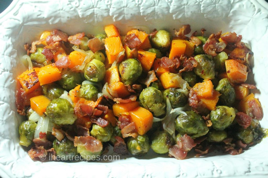 Roast Brussel Sprouts, Butternut Squash, and Bacon