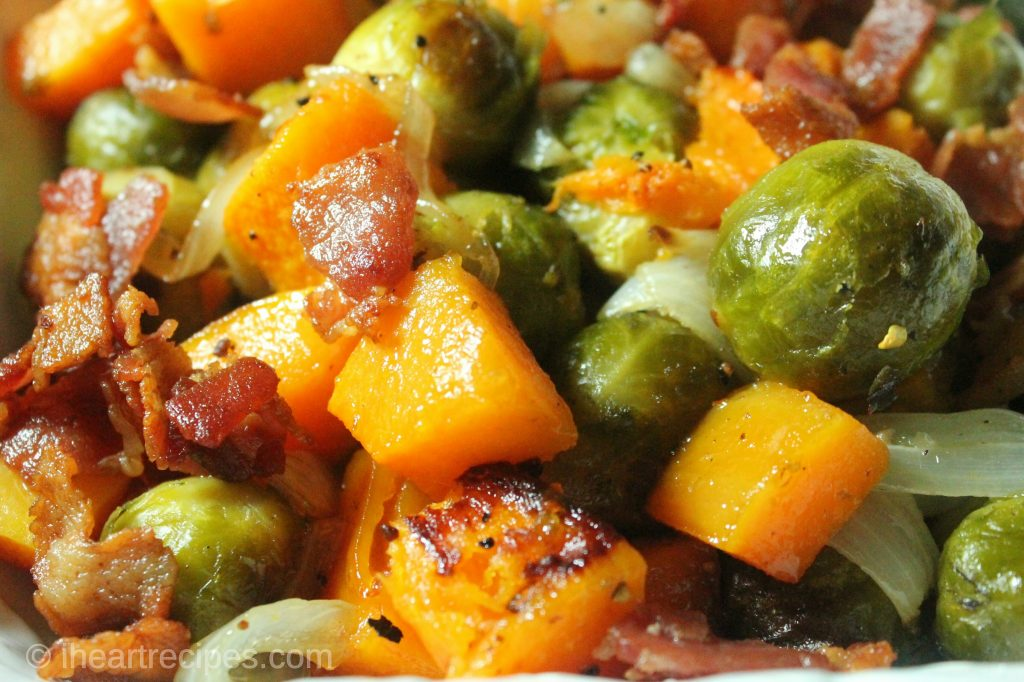 Brussels sprouts, butternut squash and bacon roasted in the oven