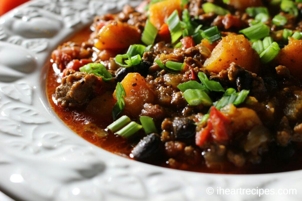 Beef, Black Bean, Butternut Squash Chili