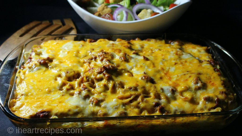 Layered Baked Spaghetti | I Heart Recipes
