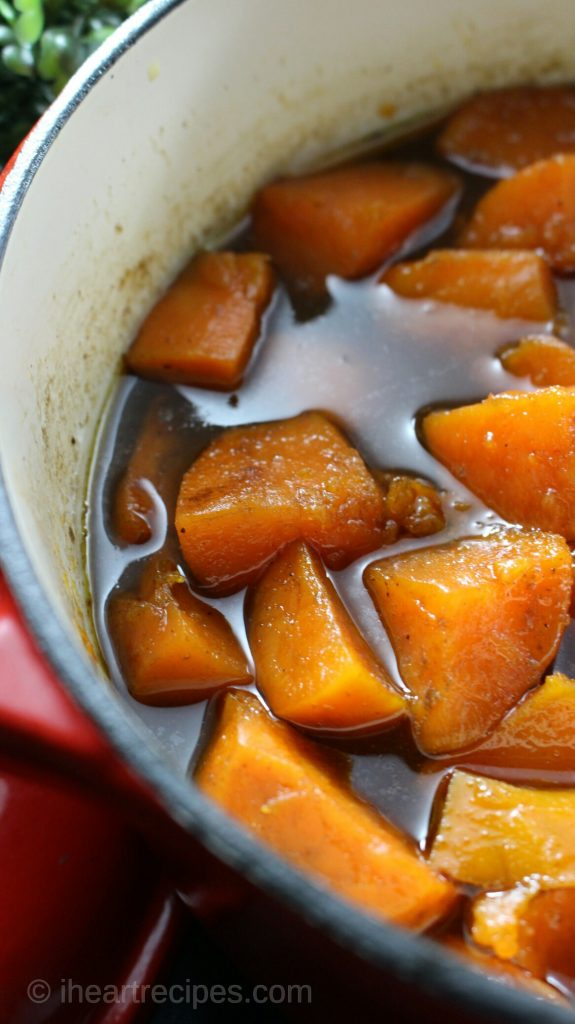 The sweet bourbon brown sugar glaze gives these candied yams a sweet yet savory flavor