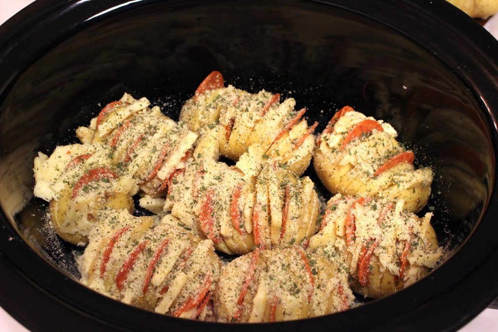 These hasselback potatoes can be made in a crockpot, making it an exceptionally easy recipe